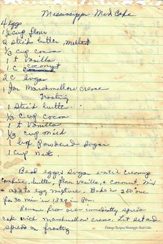 me ~ Mississippi Mud Cake - Southern Classic Dessert - Vintage Handwritten Recipe … Retro Recipes, Old Recipes, Vintage Recipes, Cookbook Recipes, Cooking Recipes, Crisco Recipes, Family Recipes, Vegetarian Recipes, Sweets