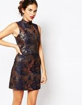Warehouse Metallic Print Shift Dress
