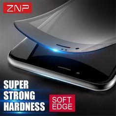 ZNP 3D Weiche kante Voll Gehärtetem Glas Für iPhone 6 6 s 3D gebogene abdeckung karbon Schirm-schutz für iPhone 7 7 plus 6 glas