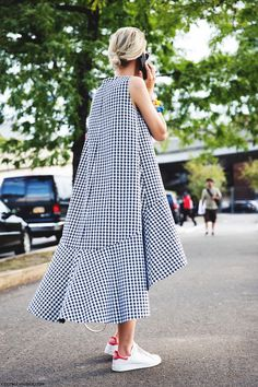 Houndstooth dress & Adidas Satn Smith trainers | Collage Vintage | @styleminimalism