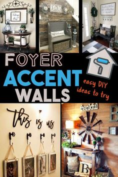 Easy DIY Projects for the Home: Foyer Decorating Accent Wall Ideas Easy DIY proj. Easy DIY Projects for the Home: Foyer Decorating Accent Wall Ideas Easy DIY projects for the home: Pallet Accent Wall, Tile Accent Wall, Accent Wall Decor, Accent Wall Designs, Foyer Wall Decor, Farmhouse Wall Decor, Farmhouse Style, Entryway, Diy Wand