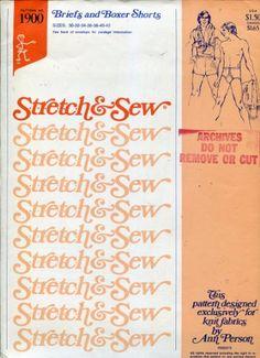 Stretch & Sew Pattern 1900 ~ Men's Briefs & Boxer Shorts ~ Waist 30-42
