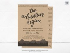 Adventure Baby Shower Invitation Card - DIY Printable Digital File - Watercolor Mountain, Forest, The Adventure Begins, Lumberjack, Woodland by SundayDesign on Etsy https://www.etsy.com/listing/500724757/adventure-baby-shower-invitation-card