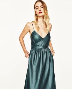 Image 3 of CROSSOVER FAUX LEATHER DRESS from Zara