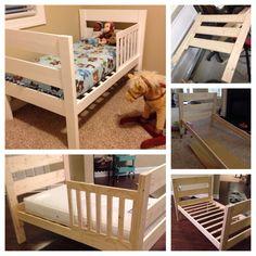 Toddler bed diy my completed projects diy toddler bed, diy k Diy Toddler Bed, Toddler Rooms, Diy Kids Furniture, Furniture Makeover, Bunk Bed Designs, Baby Bedroom, Diy Bed, Decoration, Kids Room