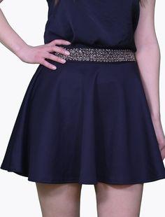 Fusta scurta in clos Fuste Fusta lejera bleumarin , clos, 95% poliester, 5% elastan Skater Skirt, Mini Skirts, Fashion, Moda, Fashion Styles, Skater Skirts, Mini Skirt, Fashion Illustrations