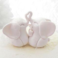 Wedding Cake Topper, White Elephants, Bride and Groom Keepsake, Fully Customizable via Etsy