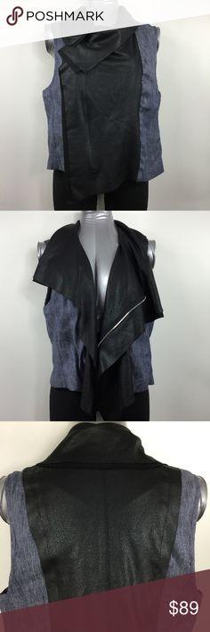 "Karen Kane Moto Vest Denim Faux Leather Drape Zipper enclosure. 44"" (112 cm) chest. 22"" (56 cm) shoulder to bottom hem. UPC 734008215707. Style 2L73519. Cut 49968. RN 59168. CA 03605 Karen Kane Jackets & Coats Vests"