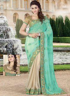 Turquoise Beige Embroidery Work Net Georgette Designer Wedding Half Sarees http://www.angelnx.com/Sarees/Designer-Sarees