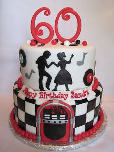 50's Theme Birthday Cake www.tablescapesbydesign.com https://www.facebook.com/pages/Tablescapes-By-Design/129811416695