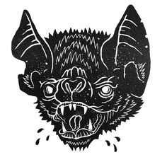 Wheatpaste poster illustration of a bat.  http://we-knew-not-the-month-of-october.tumblr.com/