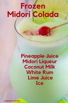 Sip on this frosty Midori Colada while your hanging out by the pool. Pineapple Juice, Lime Juice, Cocktails, Drinks, Coconut Milk, Hanging Out, Glass Of Milk, Rum, Frozen
