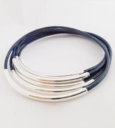 Natural Blue Leather Bangles