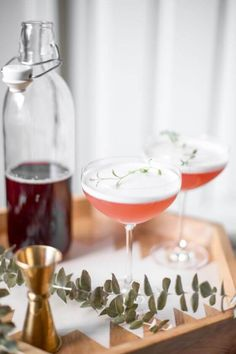 Pink Lady Cocktails with Homemade Grenadine