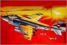 KA-6D 'Tanker Intruder' basado en portaviones. Modificación del A-6A, al que se le quitó el radar y los ordenadores de a bordo. Lleva dos depósitos de combustible adicionales para un total 14,000 lts. de combustible, se fabricaron un total de 50unidades. Box art Italieri