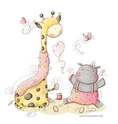 Jirafa y el hipopótamo de lindo bebé niños ilustración - vivero-