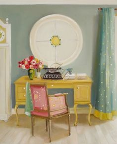 """She's painted the ultimate crafty room! """"The Columnist"""" by Janet Hill"""