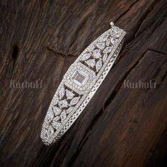 Designer zircon kada studded with zircon stones plated with rodium polish and made of copper alloy! Mens Diamond Bracelet, Diamond Bangle, Diamond Jewelry, Gold Earrings Designs, Bracelet Designs, Bridal Bangles, Jewelry Sets, Bangle Bracelets, Fashion Jewelry