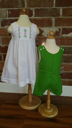 """Get ready for spring with this adorable combo! Both outfits are linen, cotton blend with hand embroidered details. The """"Lauren"""" dress comes in 2t, 3t, 4t. $42 """"Brackin"""" in Landis Green is available in 6m, 12m, 18m, 2t and 3t. $36  wow . Oaksapparel.com -""""Be a Mighty Oak for the Lord!"""""""