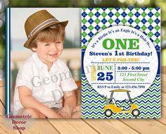 Golf Birthday Party Invitation Golf First by GeometricDecorShop