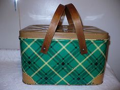 Vintage Green Yellow Plaid Tin Metal Lunch Bread Box Picnic Basket Wood Handles
