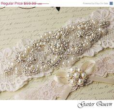 SALE Wedding garter set, Cream Ivory stretch lace Bridal Garter set, Heirloom Rhinestone and Crystal garters. $53.99, via Etsy.