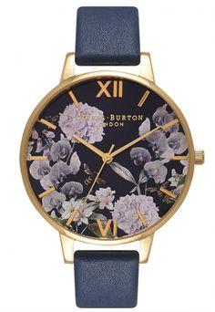 Buy Olivia Burton Women's Enchanted Garden Leather Strap Watch, Navy from our Women's Watches range at John Lewis & Partners. Stylish Watches, Cool Watches, Women's Watches, Bracelet Cuir, Daniel Wellington, Gold Watch, Watch 2, Watch Bands, Apple Watch