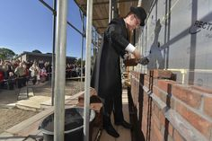 Rev. J. Roos lays the first stone of the new church of the Reformed Congregations in the Netherlands (kerk Gereformeerde Gemeente in Nederland) #Ochten. The new church with 625 seats will be ready for use in April 2014.