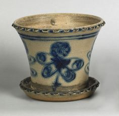 Stoneware Crock | Antique Crocks, Jugs, & Stoneware / Blue decorated stoneware flower ...