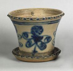 Stoneware Crock | Antique Crocks, Jugs, & Stoneware / Blue decorated stoneware flower ...