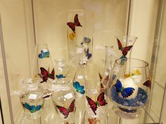 Made in Ashford shop mulberry glass art butterfly vase Wine Glass, Glass Art, Butterfly, Vase, Tableware, How To Make, Shopping, Dinnerware, Jar Art