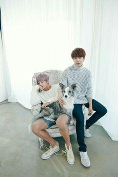 This is such a beautiful shot! I love the dog, Tae Hyung's hair, Jin's outfit. Everything! ! I do not take credit for any of this.