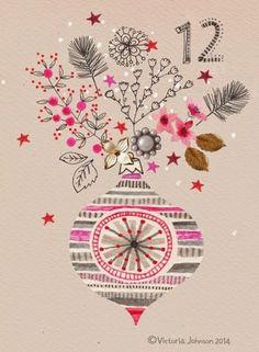 print & pattern bauble, christmas, art, design, illustration, victoriajohnsondesign.com