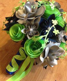 Fleurs bouquet vert et bleu fleur en papier par MyWoollyMammoth