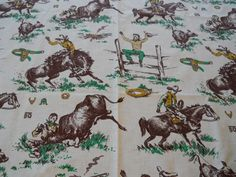 Vintage 1950's Cowboy Western Rodeo Fabric NOS Unsed 2 1/2 Yards Bucking Broncos Cotton. $21.95, via Etsy.