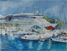 AIDA at the port of Catagena (c) watercolor by Frank Koebsch, 30 x 40 cm, $285, You can find more information on this page http://frankkoebsch.wordpress.com/2011/09/03/urlaubsgruse-von-der-aida-blu-aus-der-nordsee/