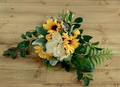Silk Wedding Bouquet- Sunflower Ranunculus Cream and Fern