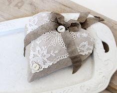Linen & Lace Lavender Sachet by BailiwickStudio on Etsy, Lavender Bags, Lavender Sachets, Sewing Crafts, Sewing Projects, Scented Sachets, Fabric Hearts, Lace Heart, Hanging Hearts, Linens And Lace