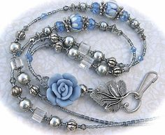 Beaded Lanyard ID Badge Holder Blue Roses FREE SHIPPING teacher lariat