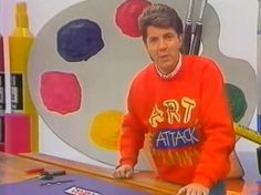 Art Attack with Neil Buchanan. Wonder if you can buy that jumper?