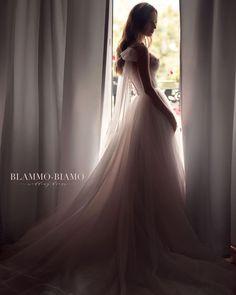 Wedding dress Nora by Blammo-Biamo. Spaghetti straps sweetheart neckline A-line blush wedding dress. Based in Vancouver, Canada. Princess Wedding Dresses, Bridal Dresses, Wedding Gowns, Romantic Dresses, Wedding Dress Boutiques, Designer Wedding Dresses, Weeding Dress, Special Dresses, Silhouette