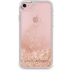 Rebecca Minkoff Glitterfall Peace Sign iPhone 7 Case ($40) ❤ liked on Polyvore featuring accessories, tech accessories, phone cases, phone, electronics, pink and rebecca minkoff