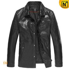 Mens Black Genuine Lambskin Leather Jacket CW850251 $945.89 - www.cwmalls.com