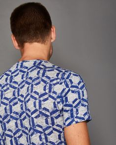 Mitch Geo print cotton T-shirt - Blue | Tops and T-shirts | Ted Baker UK