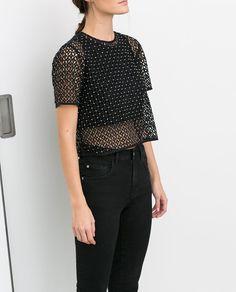 Imagem 1 de TOP CURTO COM ORIFÍCIOS da Zara
