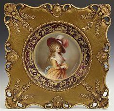 Royal Vienna Porcelain Portrait Plate, 19th c., verso stamped