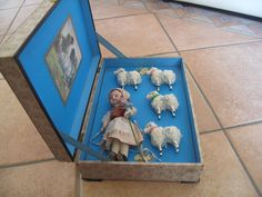 Wonderful antique original box with four sheep and little sheepherdess from guermantes on Ruby Lane