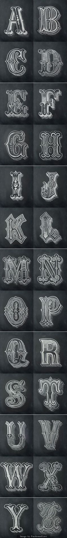 Chalk Alphabet by Antonio Rodrigues Jr... - a grouped images picture - Pin Them All #Calligraphy