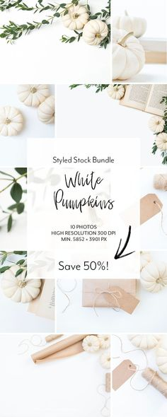 The ultimate white pumpkin bundle. These styled stock images are the perfect option to give your website, blog or social media profiles the fall update that supports your brand message and attracts new customers.