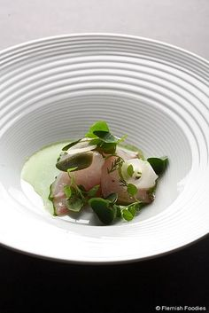 Seabass, wild herbs, pickled vegetables/Kobe Desramaults by kobedesramaults, via Flickr